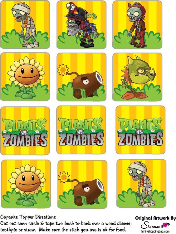 Etiquetas toppers stickers Plantas Vs Zoombies Imprimibles gratis para decoracion cumpleaños