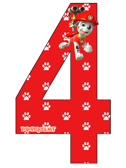 Numero 4 Marshall Paw Patrol O Patrulla Canina Todo Peques